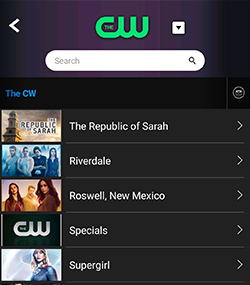The CW shows listing on PlayOn Cloud